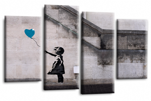 Banksy Art Balloon Girl Love Peace Teal Grey Canvas Wall Picture